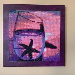 Diamond Painting on 12 x 12 Inch Purple Canvas